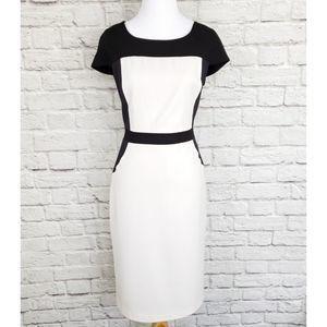 Andrew Marc Black & White Cap Sleeve Sheath Dress